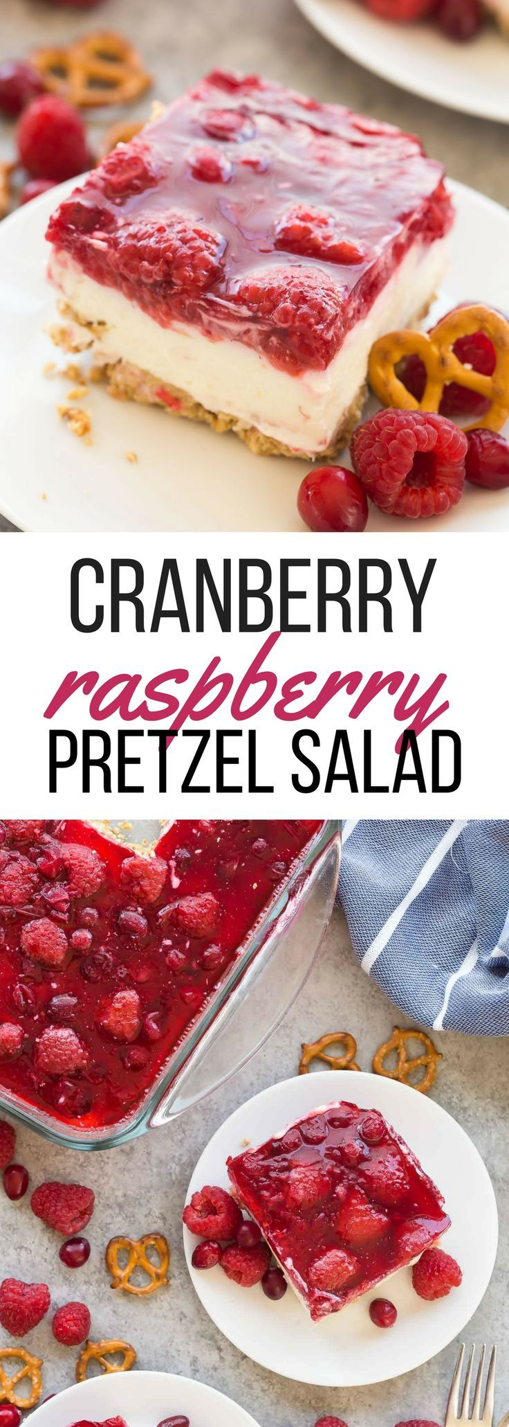 This Cranberry Raspberry Pretzel Salad Dessert is an easy holiday dessert salad that will be a big hit at Christmas or Thanksgiving! Made with cream cheese, fresh fruit and real fruit juice instead of Jello and includes a step by step recipe video. | christmas dessert recipe | holiday dessert | cranberry dessert | raspberry dessert | Thanksgiving recipe | no bake dessert #thanksgiving #christmas #pretzel
