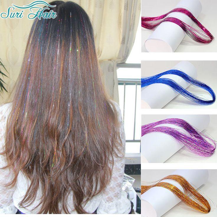 Super Bright Silk Synthetic Hair Sparkle Glitter Twinkle Tinsel Festival Hair Extensions Bling String 3D Rainbow Hair Peruka