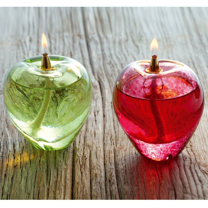 『オイルランプ』津軽びいどろオイルランプ赤りんご、青りんご