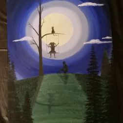 A moonlight painting of a girl on a swing. A boy sits beside her on a football, and a cat on the branch on top. Painted with water soluble oil paint.