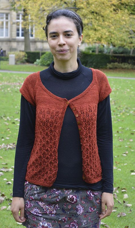 Knitted Lacy Cardigan, designed and made by Eleanor Livermore