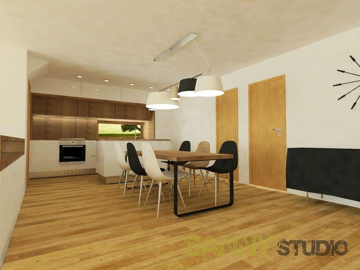 Návrh kuchynskej linky a jedálne do moderného interiéru.