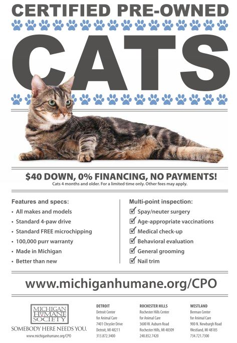 "The Michigan Humane Society is a charitable animal welfare organization and is the largest and oldest animal welfare organization in the state, caring for more than 100,000 animals each year. They also created the lighthearted and fun ""Certified Pre-Owned Cats"" program, which is helping to change the face of shelter marketing."
