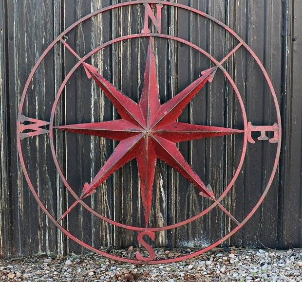 HUGE Metal Compass Rose Wall Plaque