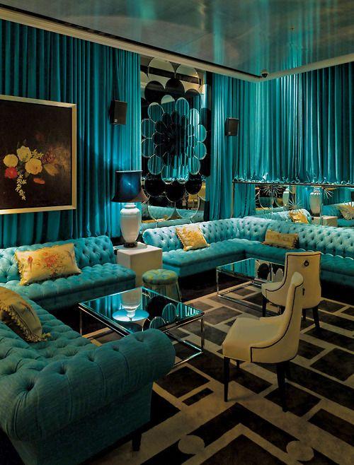 Updated mid century mod-glam. Turquoise overload, but I love it. #plush #homedecor