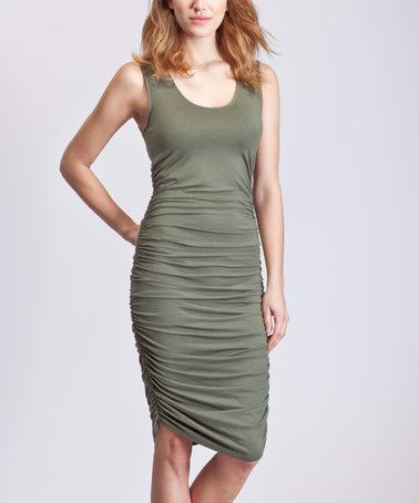 Love this Khaki Thea Ruched Tank Dress on #zulily! #zulilyfinds