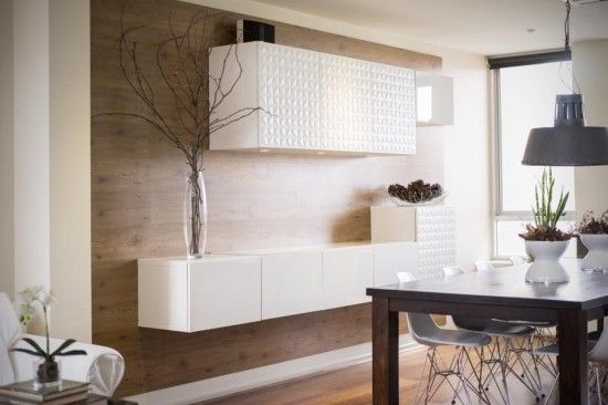 White floating cabinets look great on a planked wall. These are Ikea BESTA and the top row has a nice texture.