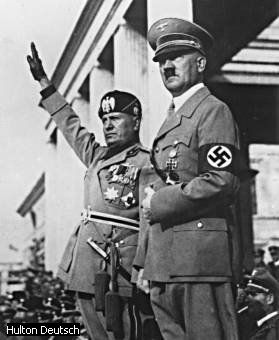 mussolini and hitler - two of the most evil leaders in history.