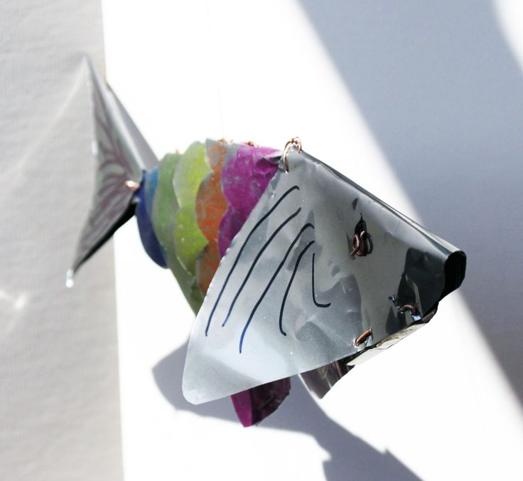 Fish. Created from drinks cans and copper wire and coloured with permant markers.