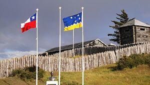 Replica del Fuerte Bulnes, primera instalacion chilena en la orilla del Estrecho de Magallanes