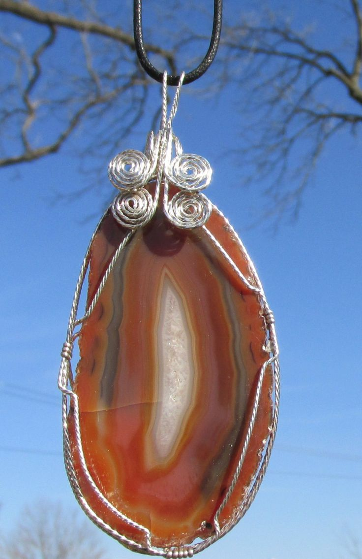 Brazilian Agate Slice  pendent  wire wrapped in Silverfilled wire Necklace by johnchapman3 on Etsy