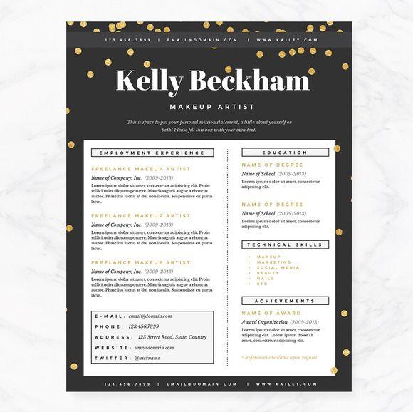 Sparkling Gold Resume Template Pkg. - Resumes - 2