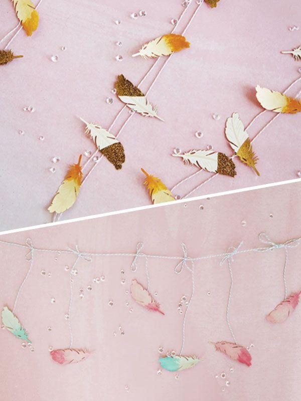 DIY Wedding Feather Garlands + More! A simple tutorial to make amazing decoratio