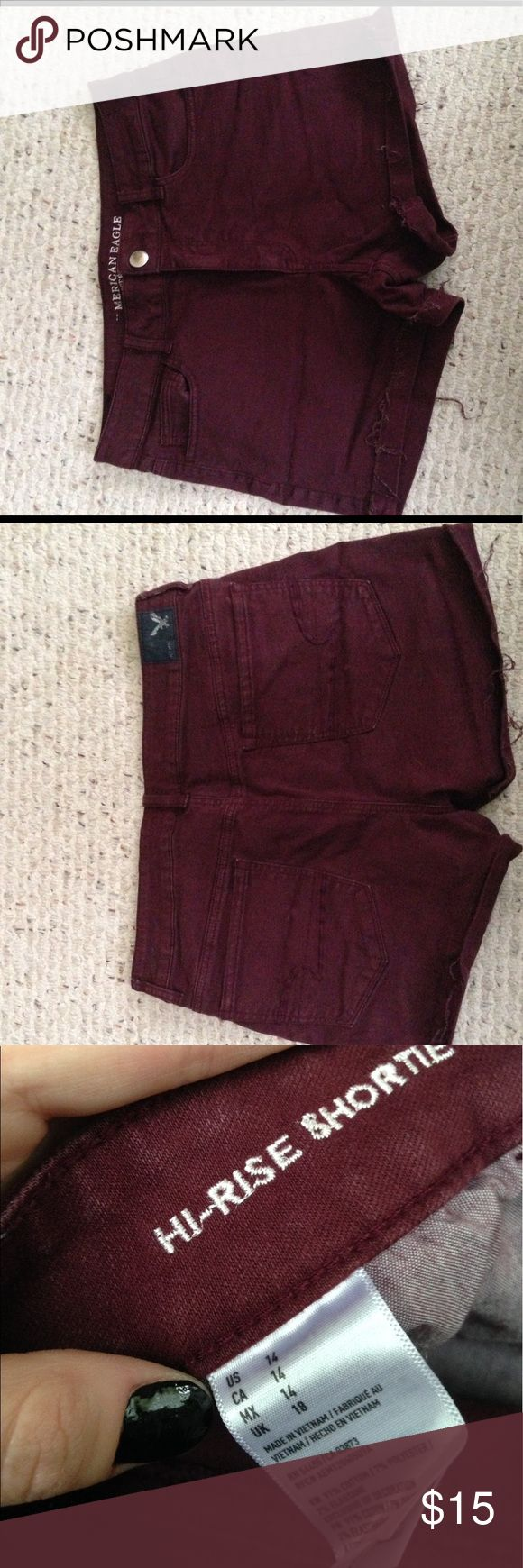 Oxblood High-waisted Shorts Deep red denim, cuffed, can be uncuffed if you iron out the creases! American Eagle Outfitters Shorts Jean Shorts