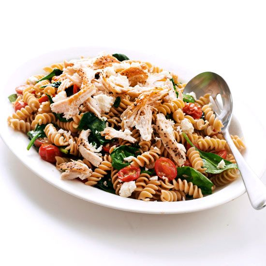 Whole Grain Rotini with Tomato, Feta, and Spinach-Fiber and protein take the stage in this veggie-filled chicken pasta salad. Toss with garlic, basil, and feta cheese to amp up the flavors for a satisfying and healthy dish.