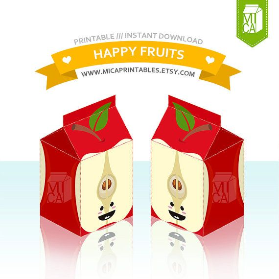 Happy Fruits Printable Party Favor Treat Gift by MicaPrintables #apple #red #milkcarton