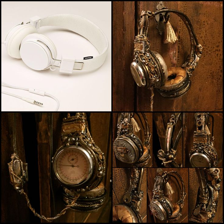 Re-designing Urbanears Plattan headphones, upholstery deluxe diy vintage/steampunk/Victorian era style. Before and after.