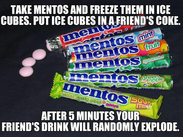 Surprise! I switched the ice cubes with Mentos ice cubes!