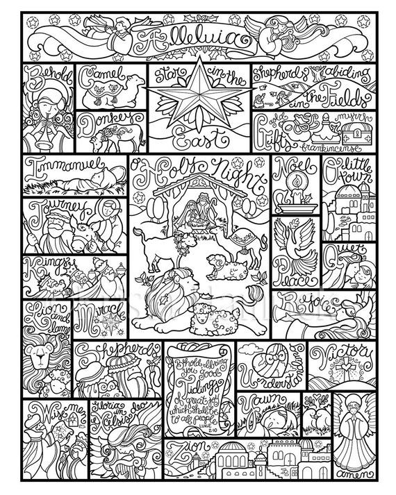 Nativity Alphabet Coloring Page In Three Sizes 8 5x11 8x10 Etsy Nativity Coloring Pages Coloring Pages Alphabet Coloring Pages