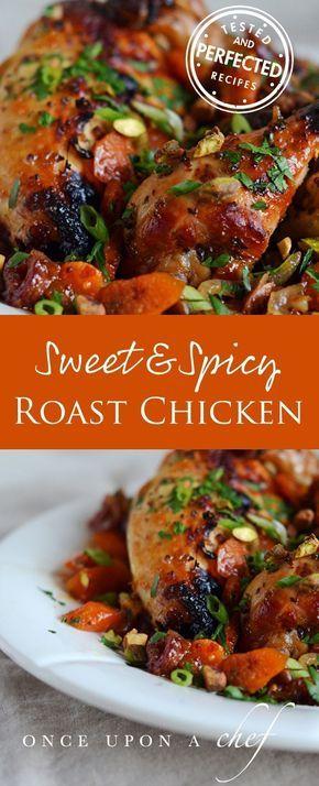 Sweet & Spicy Roast Chicken with Carrots, Dates & Pistachios #roastchicken