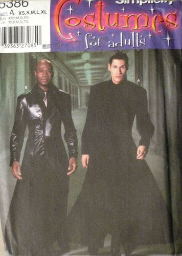 Simplicity Mens Duster Coat Matrix NEO Gothic Costume Pattern 5386 UC XS XL | eBay