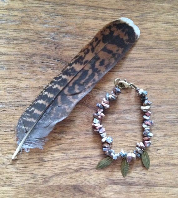 Autumn Leavesjasper chip bracelet with charmshandmade by SuryaSoul, €15.00