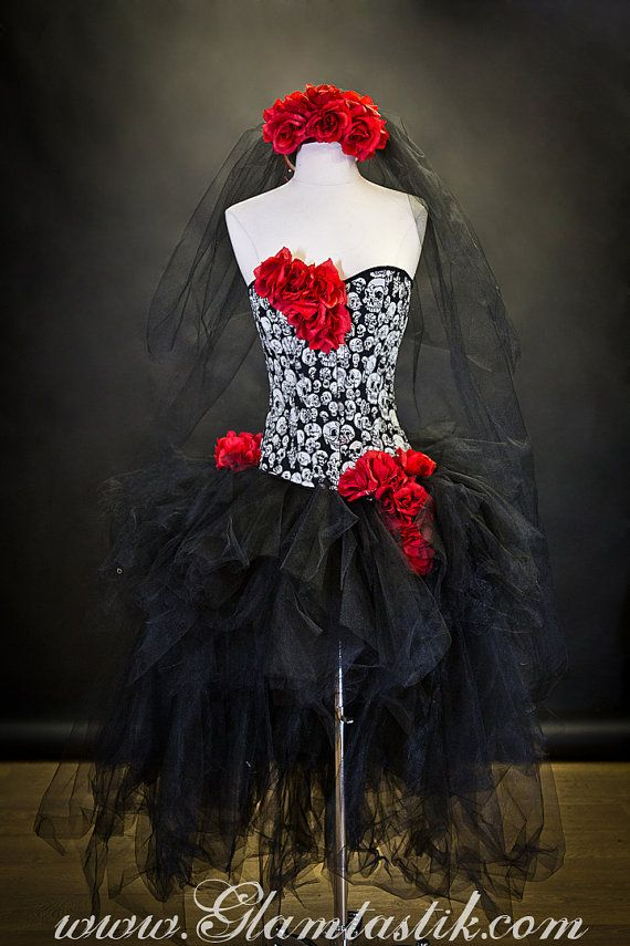 Custom size red white and black skulls and tulle burlesque prom dress