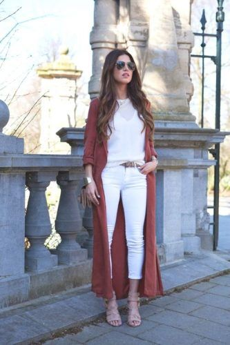 long red rust cardigan with white outfit- Fashion guide for fall street styles…