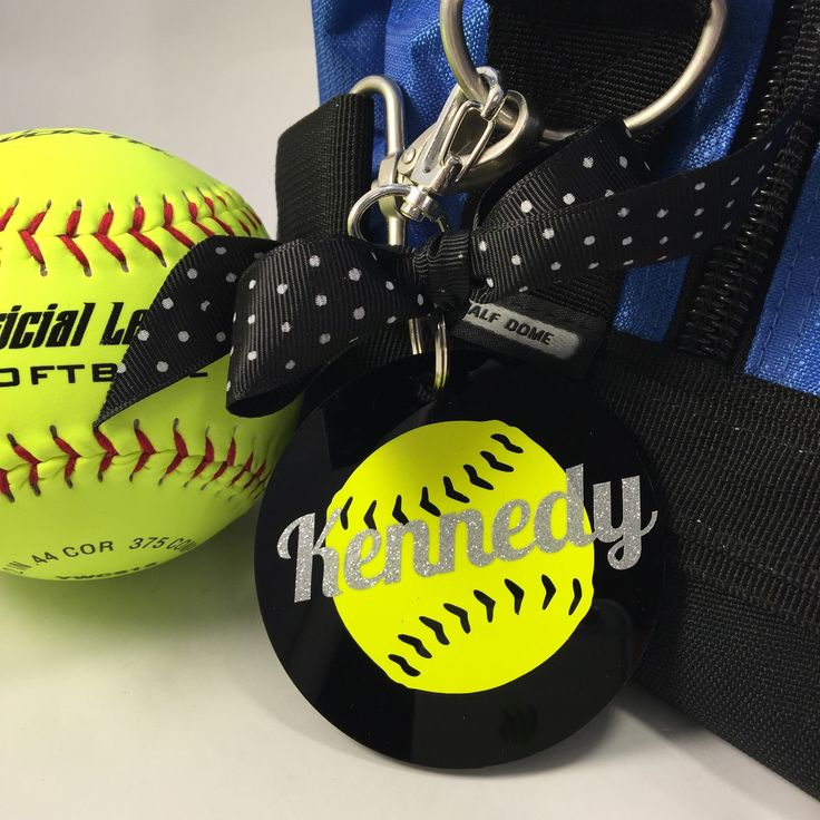 Softball Bag Tag in Black, Gifts for Softball, Softball Coach Gifts, Fastpitch Softball, Sports Decor, Personalized by GemLights on Etsy