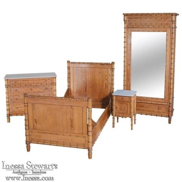 Antique Furniture | Antique Bedroom Furniture | Bedroom Sets | 19th Century French Faux Bamboo Bedroom Suite | www.inessa.com