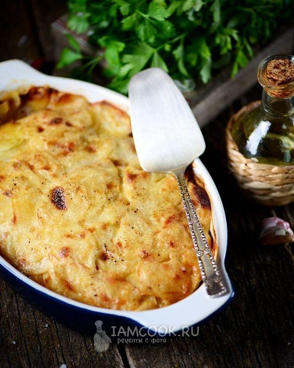 Рецепт картошки с фаршем, сыром и майонезом в духовке