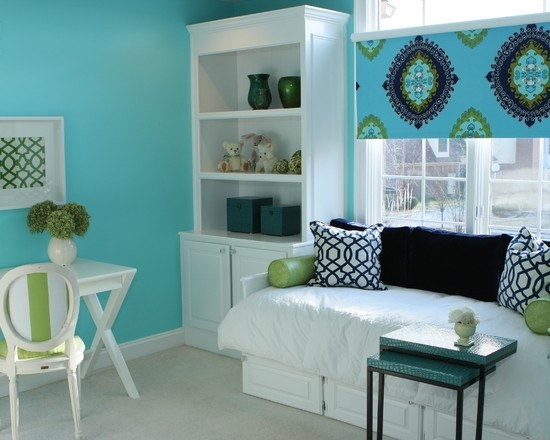 Green and teal girls room