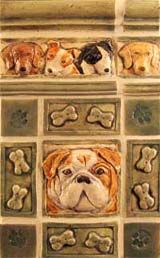 Handmade dog ceramic tiles. She even has a sink!  And one of a kind tiles custom to your dog. Margaret Licha Designs