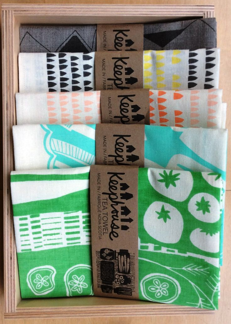 New product has arrived at the Shop at AGH. Keephouse tea towels are hand printed and sewn right in Nova Scotia. Available in a variety of patterns and colours. $28 each