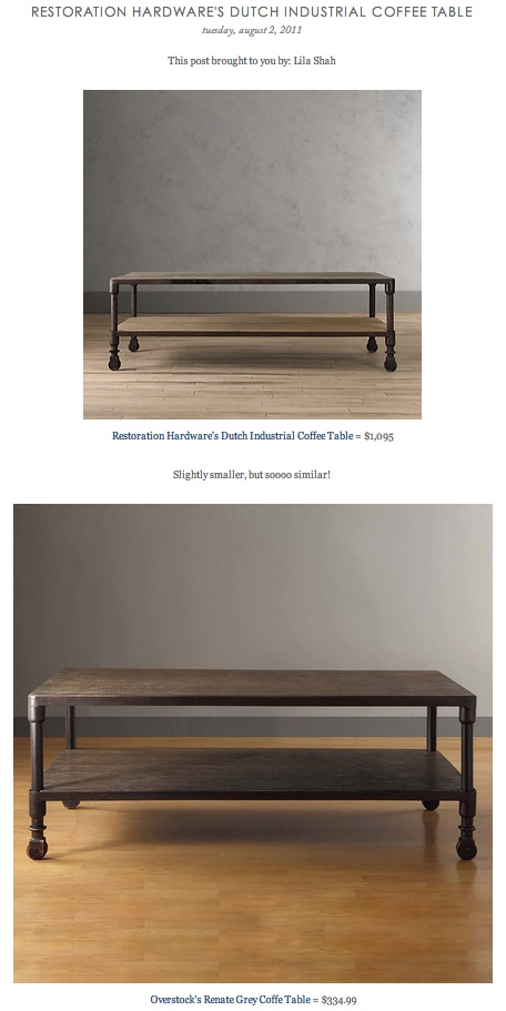 Copy Cat Chic Find Restoration Hardware 39 S Dutch Industrial Coffee Table Vs Overstock 39 S Renate