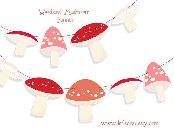 Printable Woodland Mushrooms Banner PDF