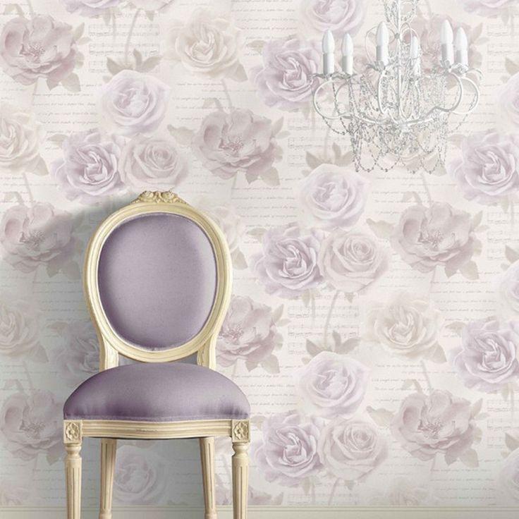 Papel pintado rosas vintage con letras y partituras
