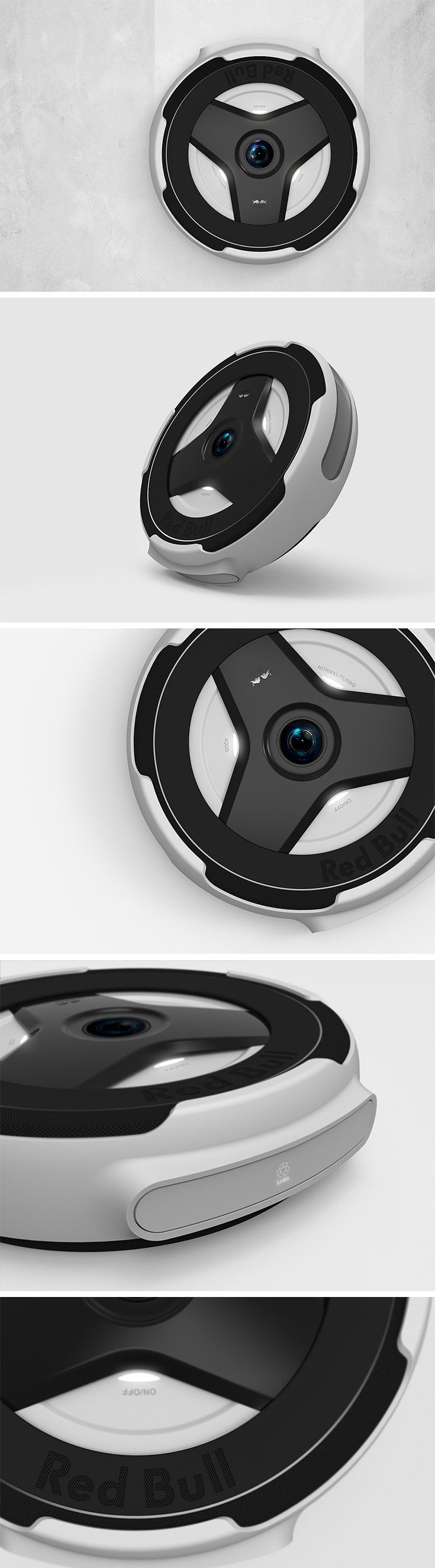The Red Bull Robot Cleaner applies the brand's simultaneously sporty and minimalist aesthetic to an autonomous robo-vacuum for an all new tough look and easy-to-use functionality.