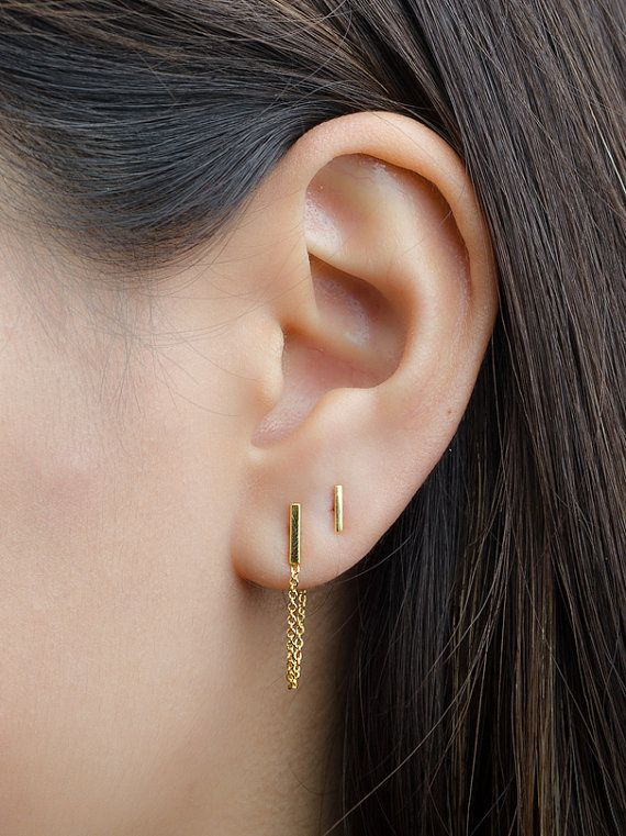 Tiny Bar Chain Studs Sterling Silver & Gold Plated by lunaijewelry