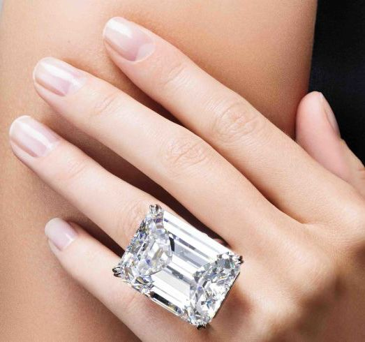 This emerald cut 100 Carat Diamond ring auctioned for $22.1 million dollars. Read the full story here: