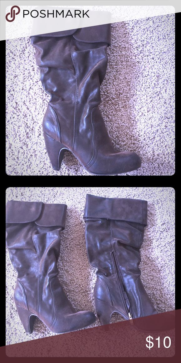 Slouchy Brown Heeled Boots Slouchy brown heeled boots in a super soft leather with side zip. In good condition and perfect when lots of walking is required. Coconuts Shoes Heeled Boots
