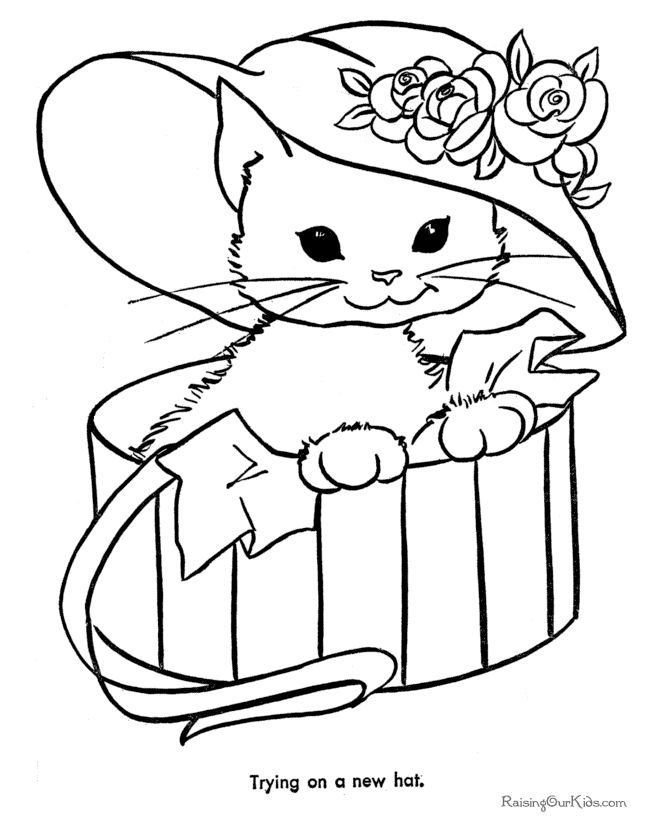 Free printable animal coloring page of kitten