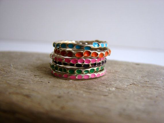 Loves these Colorful Stackable Rings Sterling Silver Gifts Under 75 #Jewelry