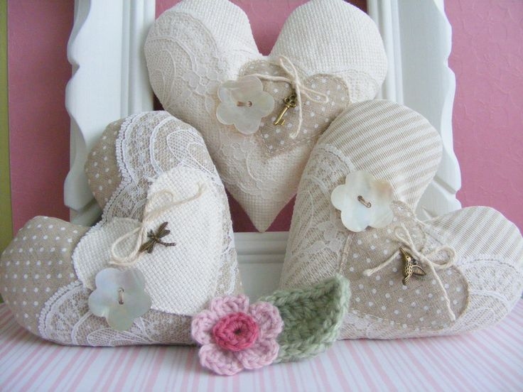 Fabric hearts set of three bowl fillers home decor by Linohandmade