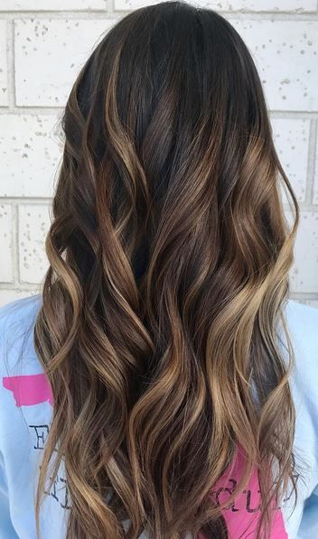 Hair color idea for neutral brunettes – ask for subtle and darker caramel highlights for a blended, sunkissed look. Color by Cami Sullivan.