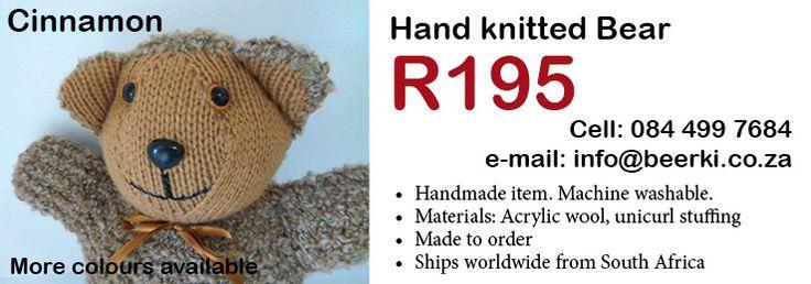Find Beerki on ColourDots:  http://www.colourdots.co.za/full_listing.php?id=46 Handmade bears, Dress Sets, Bandana Bibs and more.