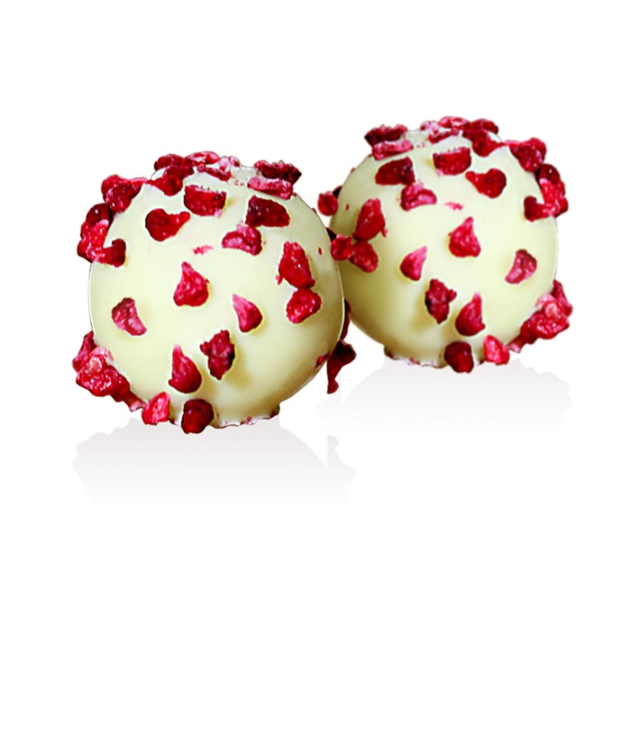 Pink Champagne Truffle: Enrobed in delicious, white Chocolate and individually sprinkled with real raspberry piece.