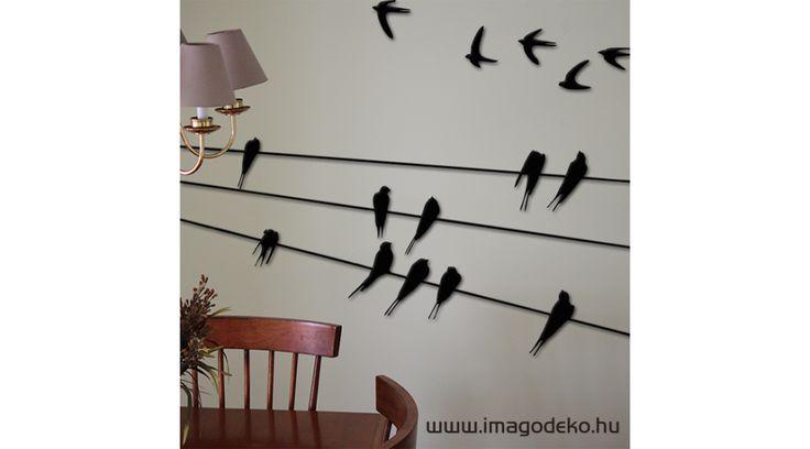 Fecskék faldekoráció - Plasztikus dekor - Imágódeko - Otthondekor és üzletdekor
