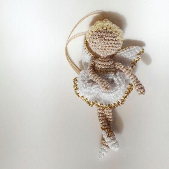 Christmas Decorating Angel ballet dancer crochet by FancyKnittles.