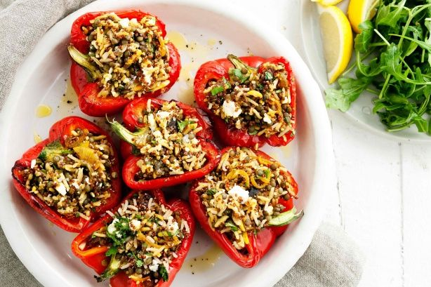 Gluten free and vegan if you omit the feta -Roasted Capsicum with Moroccan Rice and Lentils.